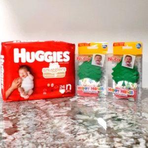 Baby Teething Mitten & Diaper Bundle!!! 3 Pieces